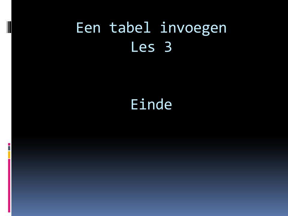 Een tabel invoegen Les 3 Einde
