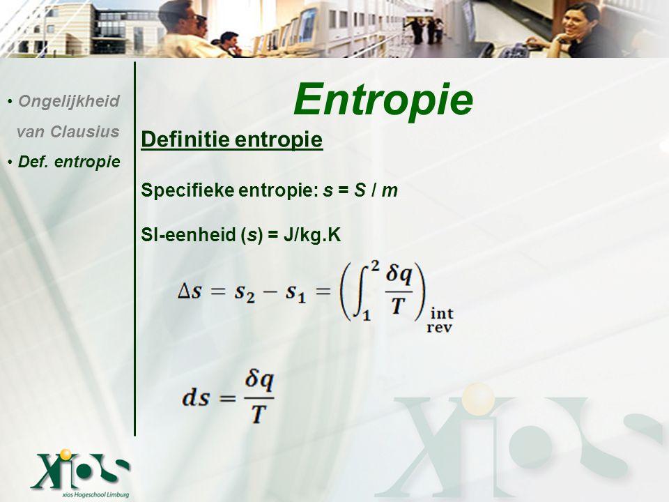 Definitie entropie Specifieke entropie: s = S / m SI-eenheid (s) = J/kg.K Entropie Ongelijkheid van Clausius Def. entropie