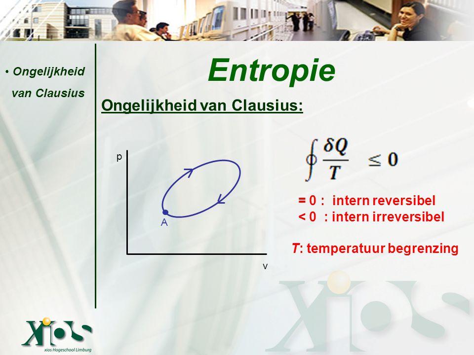 Ongelijkheid van Clausius: = 0 : intern reversibel < 0 : intern irreversibel T: temperatuur begrenzing Entropie Ongelijkheid van Clausius p v A