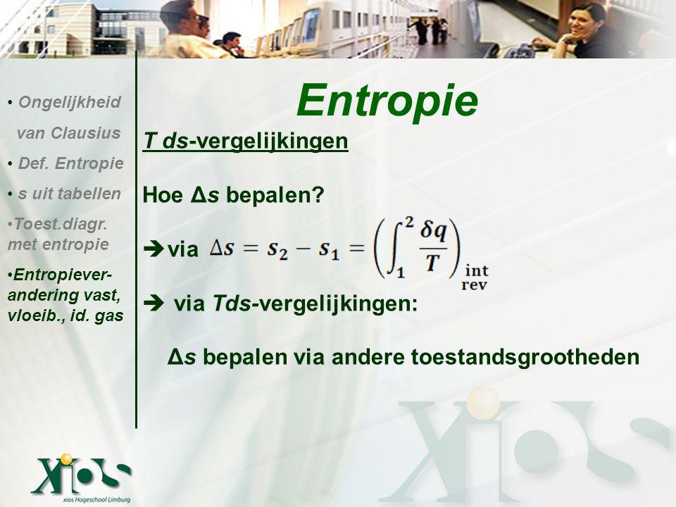 T ds-vergelijkingen Hoe Δs bepalen?  via  via Tds-vergelijkingen: Δs bepalen via andere toestandsgrootheden Entropie Ongelijkheid van Clausius Def.