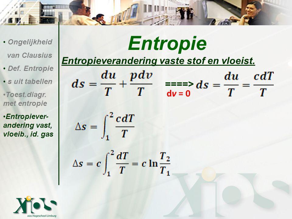 Entropieverandering vaste stof en vloeist. ====> Entropie Ongelijkheid van Clausius Def. Entropie s uit tabellen Toest.diagr. met entropie Entropiever