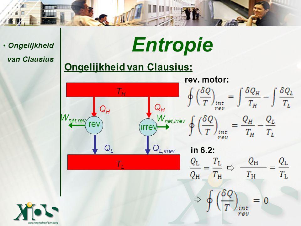 Ongelijkheid van Clausius: rev. motor: in 6.2: Entropie Ongelijkheid van Clausius THTH QHQH QHQH W net,rev QLQL Q L,irrev W net,irrev TLTL rev irrev