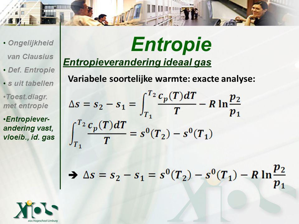 Entropieverandering ideaal gas Entropie Ongelijkheid van Clausius Def. Entropie s uit tabellen Toest.diagr. met entropie Entropiever- andering vast, v