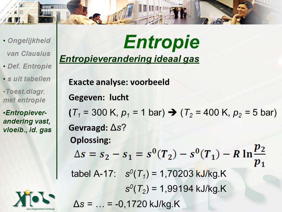 Entropieverandering ideaal gas Oplossing: Entropie Ongelijkheid van Clausius Def. Entropie s uit tabellen Toest.diagr. met entropie Entropiever- ander