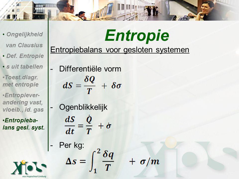 Entropiebalans voor gesloten systemen -Differentiële vorm -Ogenblikkelijk -Per kg: Entropie Ongelijkheid van Clausius Def. Entropie s uit tabellen Toe