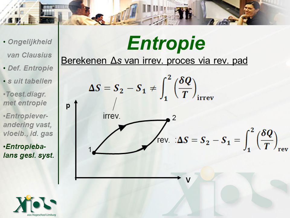 Berekenen Δs van irrev. proces via rev. pad Entropie Ongelijkheid van Clausius Def. Entropie s uit tabellen Toest.diagr. met entropie Entropiever- and