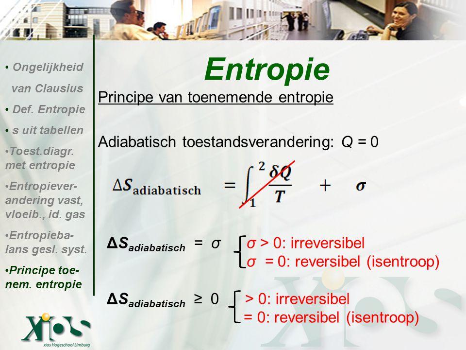Principe van toenemende entropie Adiabatisch toestandsverandering: Q = 0 ΔS adiabatisch = σ σ > 0: irreversibel σ = 0: reversibel (isentroop) ΔS adiab