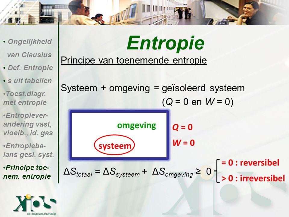 Principe van toenemende entropie Systeem + omgeving = geïsoleerd systeem (Q = 0 en W = 0) ΔS totaal = ΔS systeem + ΔS omgeving ≥ 0 Entropie Ongelijkhe