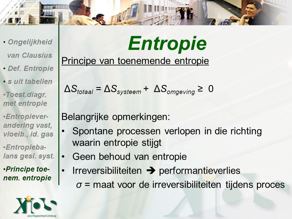 Principe van toenemende entropie ΔS totaal = ΔS systeem + ΔS omgeving ≥ 0 Belangrijke opmerkingen: Spontane processen verlopen in die richting waarin