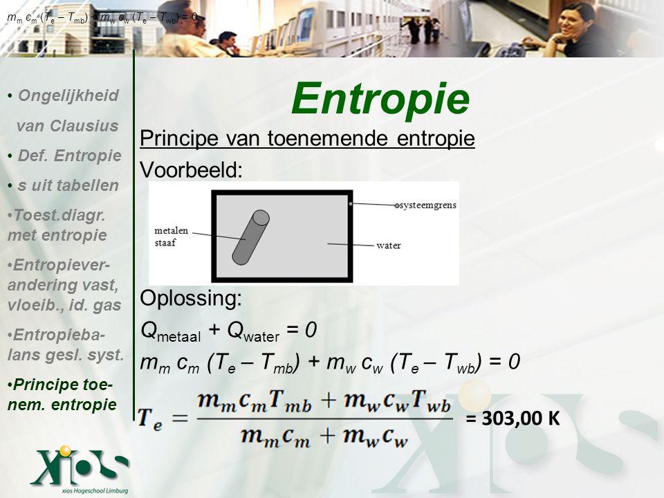 Principe van toenemende entropie Voorbeeld: Oplossing: Q metaal + Q water = 0 m m c m (T e – T mb ) + m w c w (T e – T wb ) = 0 Entropie Ongelijkheid