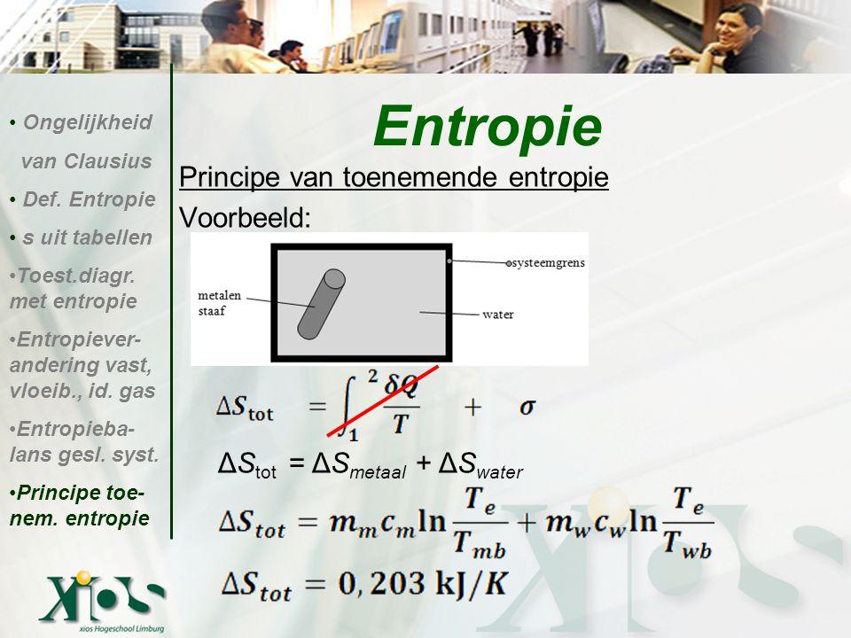 Principe van toenemende entropie Voorbeeld: ΔS tot = ΔS metaal + ΔS water Entropie Ongelijkheid van Clausius Def. Entropie s uit tabellen Toest.diagr.