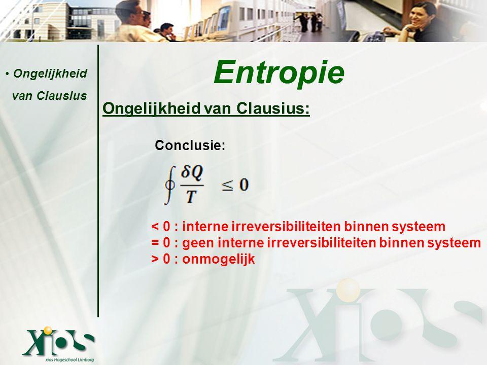 Ongelijkheid van Clausius: Conclusie: < 0 : interne irreversibiliteiten binnen systeem = 0 : geen interne irreversibiliteiten binnen systeem > 0 : onm