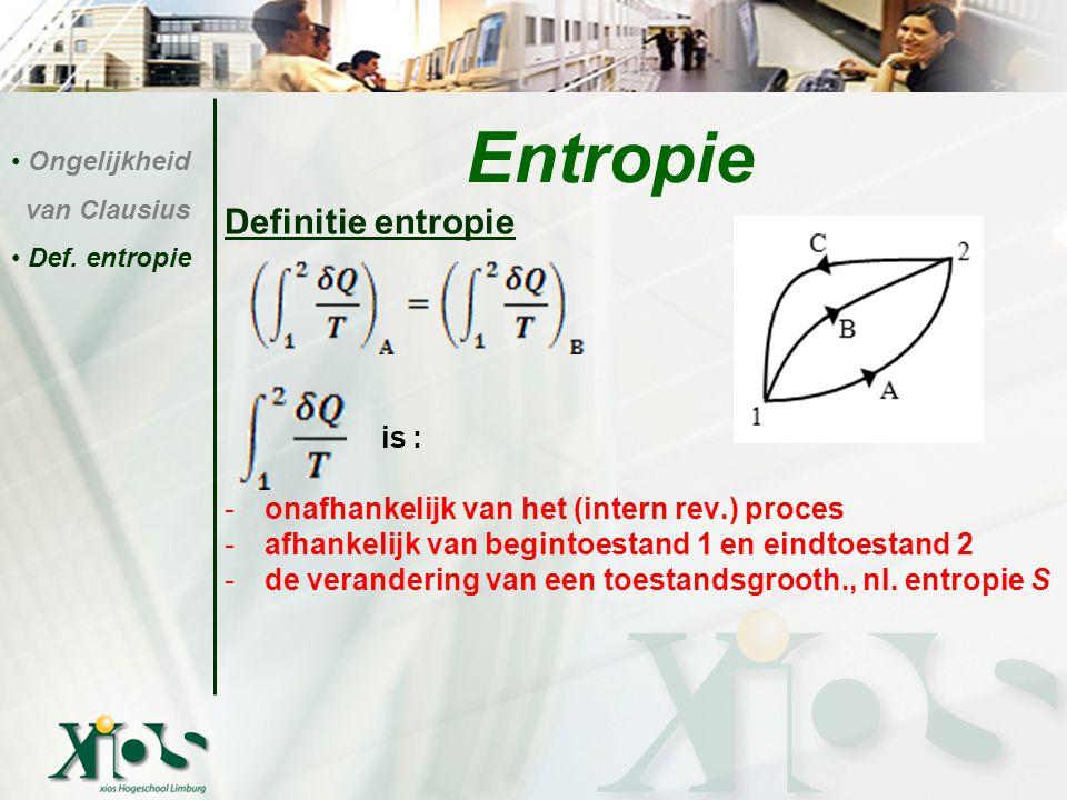 Definitie entropie is : -onafhankelijk van het (intern rev.) proces -afhankelijk van begintoestand 1 en eindtoestand 2 -de verandering van een toestan