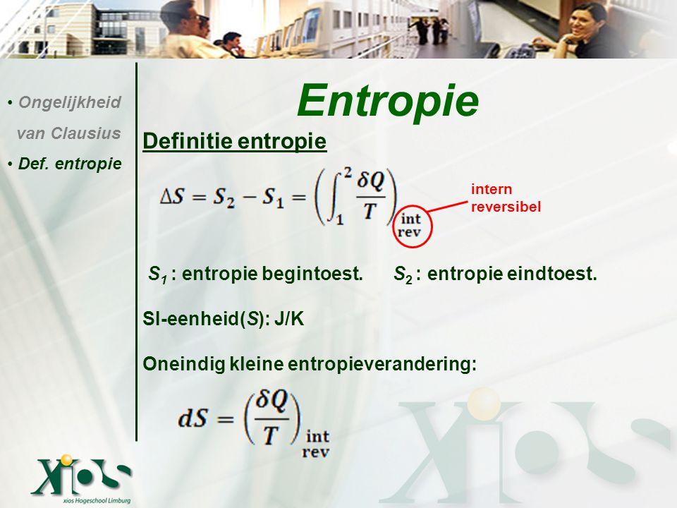 Definitie entropie S 1 : entropie begintoest. S 2 : entropie eindtoest. SI-eenheid(S): J/K Oneindig kleine entropieverandering: Entropie Ongelijkheid