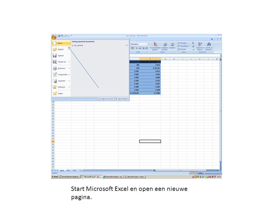 Start Microsoft Excel en open een nieuwe pagina.