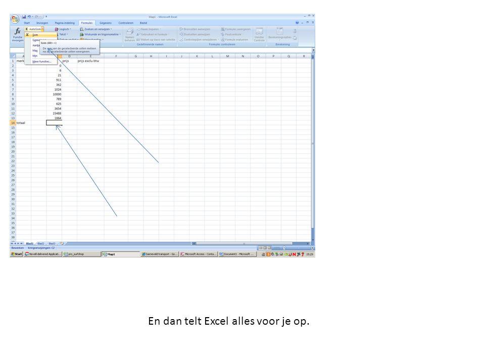 En dan telt Excel alles voor je op.