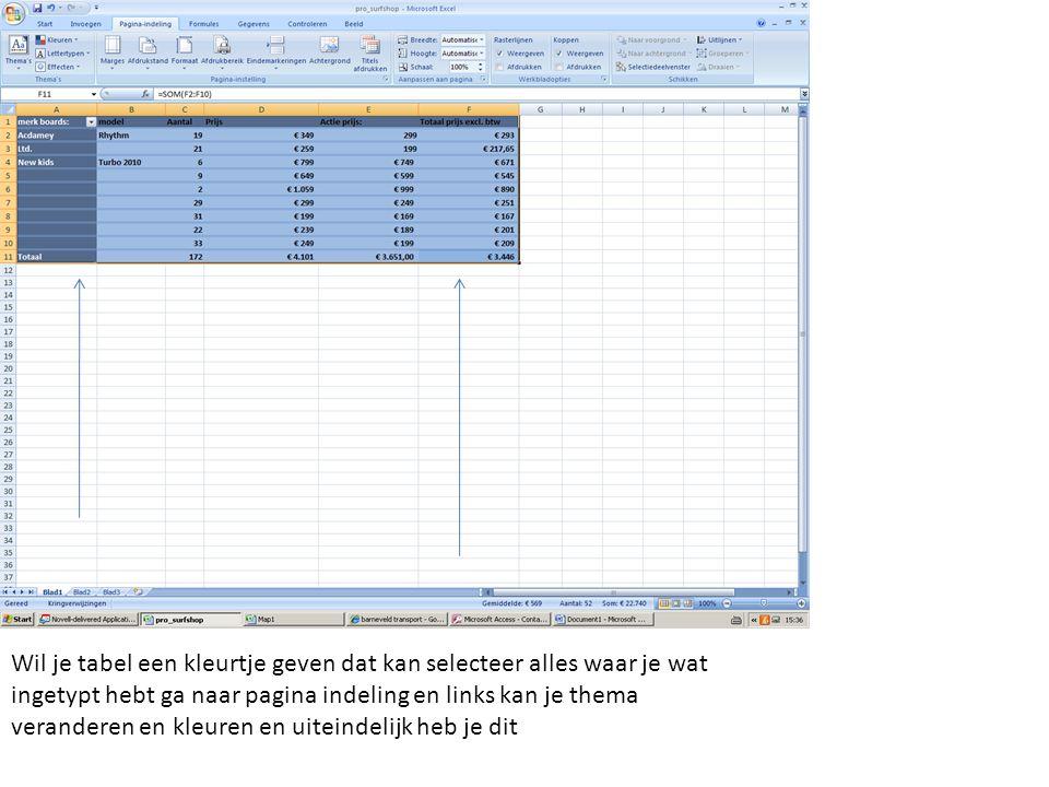 Wil je tabel een kleurtje geven dat kan selecteer alles waar je wat ingetypt hebt ga naar pagina indeling en links kan je thema veranderen en kleuren
