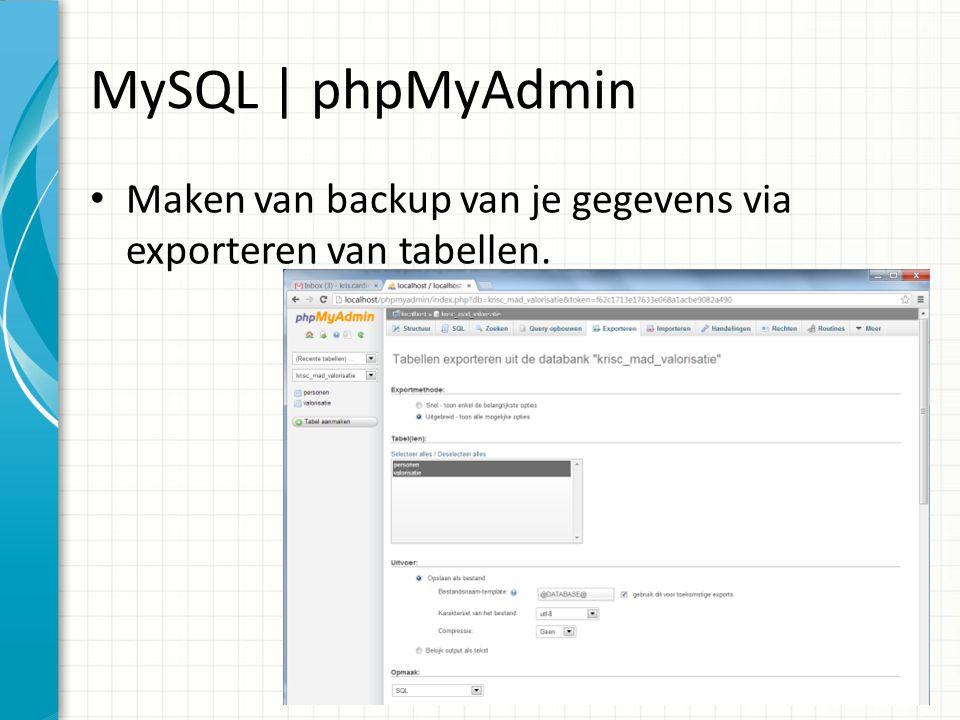 MySQL | phpMyAdmin Maken van backup van je gegevens via exporteren van tabellen.