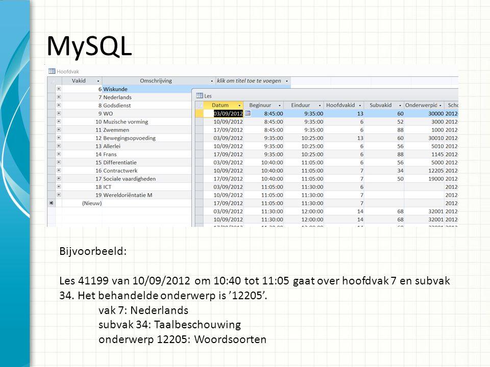 MySQL Bijvoorbeeld: Les 41199 van 10/09/2012 om 10:40 tot 11:05 gaat over hoofdvak 7 en subvak 34.