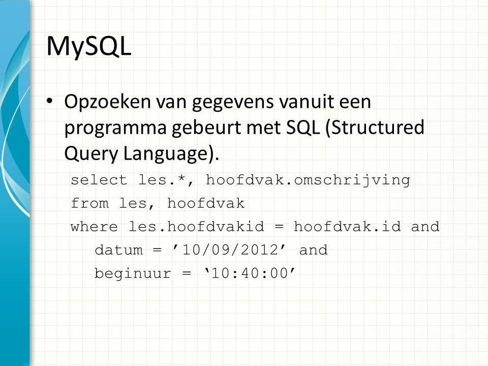 MySQL Ook aanpassen van gegevens en wissen gebeurt met SQL – Zet het hoofdvak naar 10 voor alle lessen waarvan het hoofdvak nu 11 is.