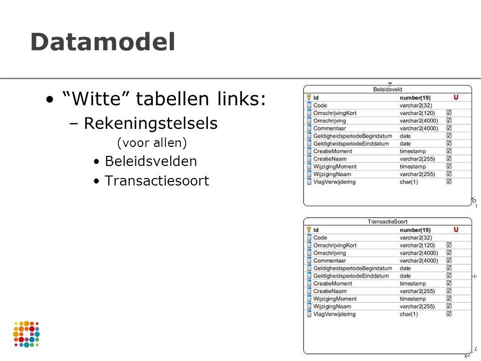 Datamodel Witte tabellen links: –Rekeningstelsels (voor allen) Beleidsvelden Transactiesoort