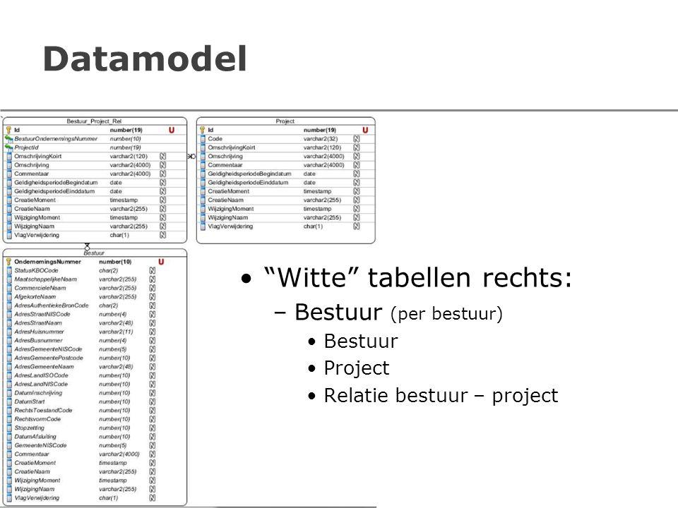 """Datamodel """"Witte"""" tabellen rechts: –Bestuur (per bestuur) Bestuur Project Relatie bestuur – project"""