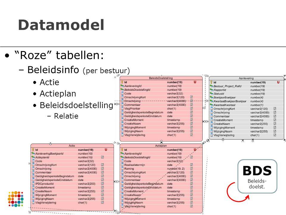 Datamodel Roze tabellen: –Beleidsinfo (per bestuur) Actie Actieplan Beleidsdoelstelling –Relatie BDS Beleids- doelst.