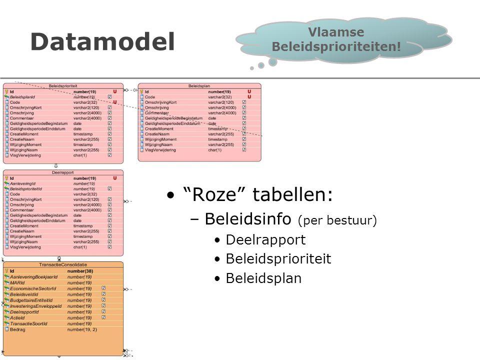 """Datamodel """"Roze"""" tabellen: –Beleidsinfo (per bestuur) Deelrapport Beleidsprioriteit Beleidsplan Vlaamse Beleidsprioriteiten!"""