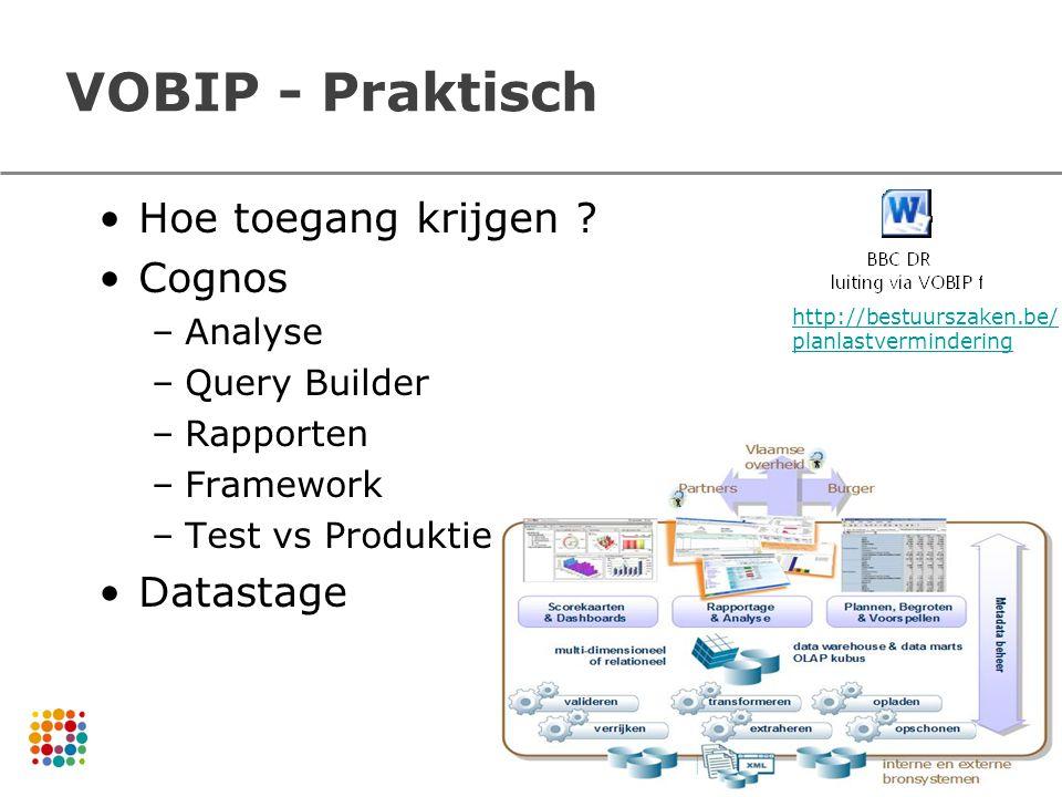 VOBIP - Praktisch Hoe toegang krijgen ? Cognos –Analyse –Query Builder –Rapporten –Framework –Test vs Produktie Datastage 37 http://bestuurszaken.be/