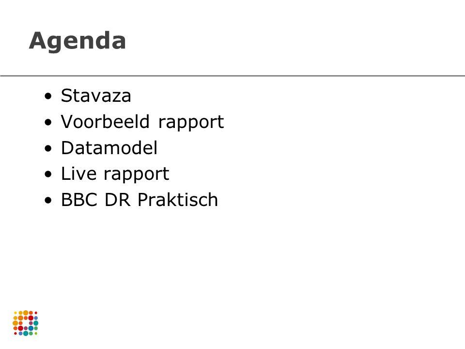 Agenda Stavaza Voorbeeld rapport Datamodel Live rapport BBC DR Praktisch