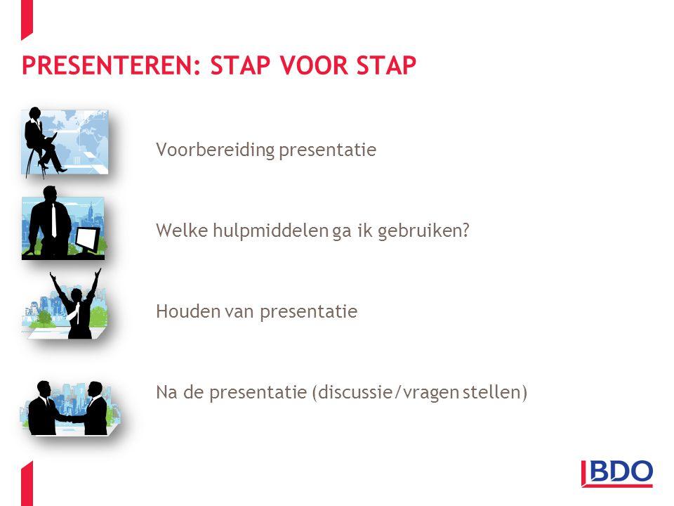 PRESENTEREN: STAP VOOR STAP Voorbereiding presentatie Welke hulpmiddelen ga ik gebruiken? Houden van presentatie Na de presentatie (discussie/vragen s