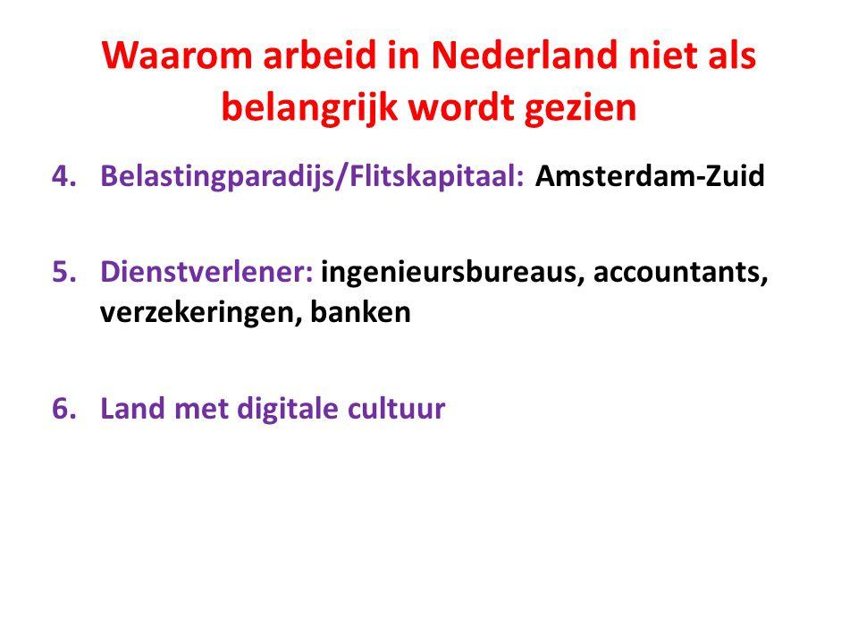 Waarom arbeid in Nederland niet als belangrijk wordt gezien 4.Belastingparadijs/Flitskapitaal: Amsterdam-Zuid 5.Dienstverlener: ingenieursbureaus, accountants, verzekeringen, banken 6.Land met digitale cultuur