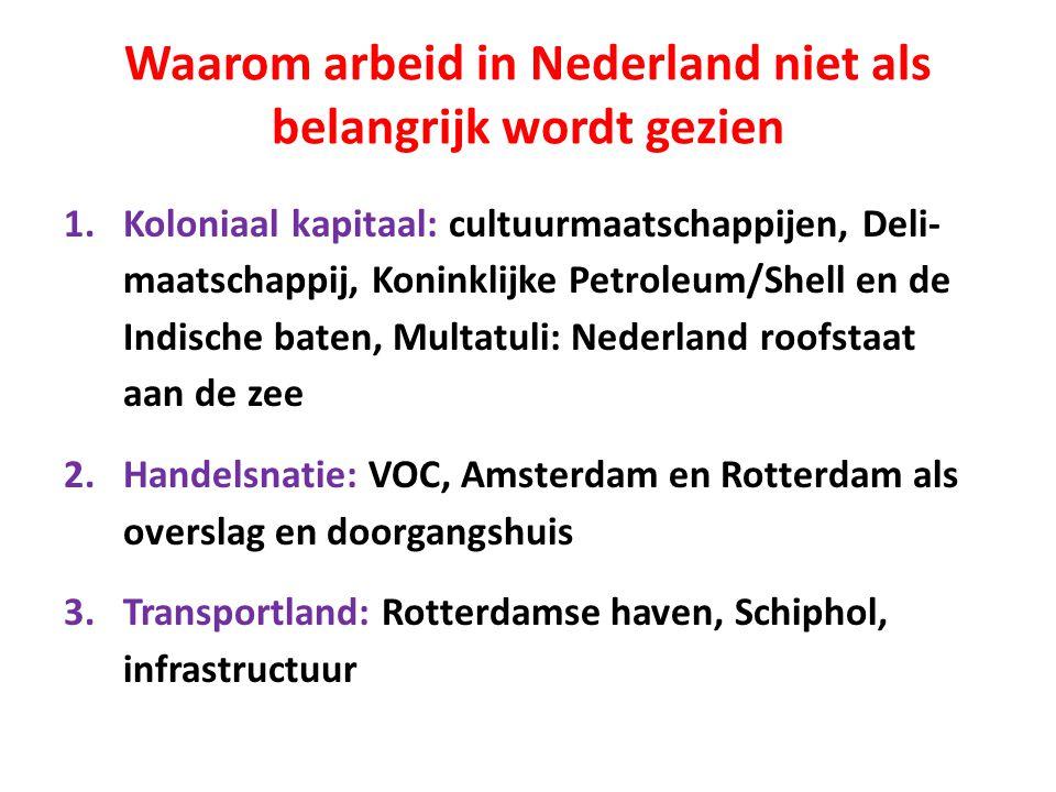 Waarom arbeid in Nederland niet als belangrijk wordt gezien 1.Koloniaal kapitaal: cultuurmaatschappijen, Deli- maatschappij, Koninklijke Petroleum/Shell en de Indische baten, Multatuli: Nederland roofstaat aan de zee 2.Handelsnatie: VOC, Amsterdam en Rotterdam als overslag en doorgangshuis 3.Transportland: Rotterdamse haven, Schiphol, infrastructuur