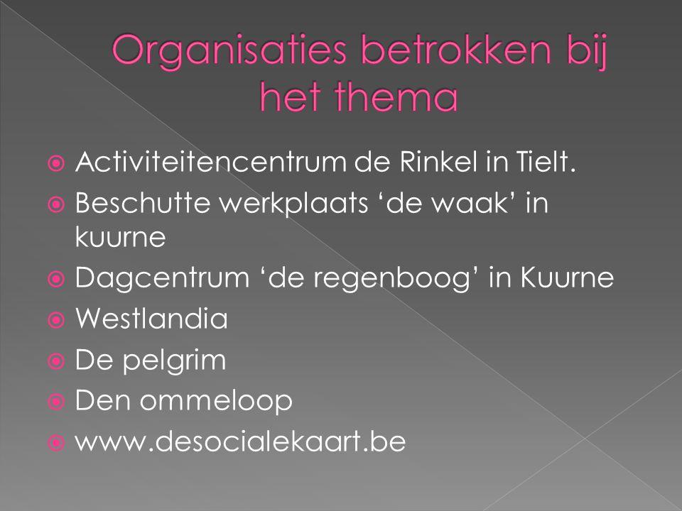  Activiteitencentrum de Rinkel in Tielt.  Beschutte werkplaats 'de waak' in kuurne  Dagcentrum 'de regenboog' in Kuurne  Westlandia  De pelgrim 