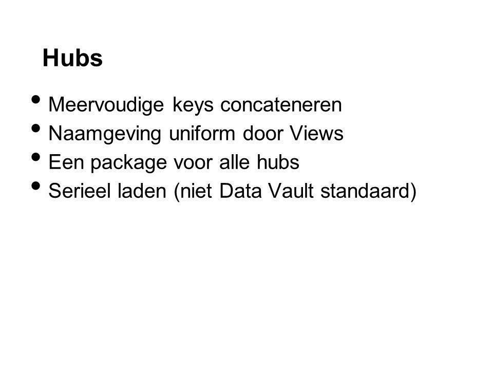 Hubs Meervoudige keys concateneren Naamgeving uniform door Views Een package voor alle hubs Serieel laden (niet Data Vault standaard)