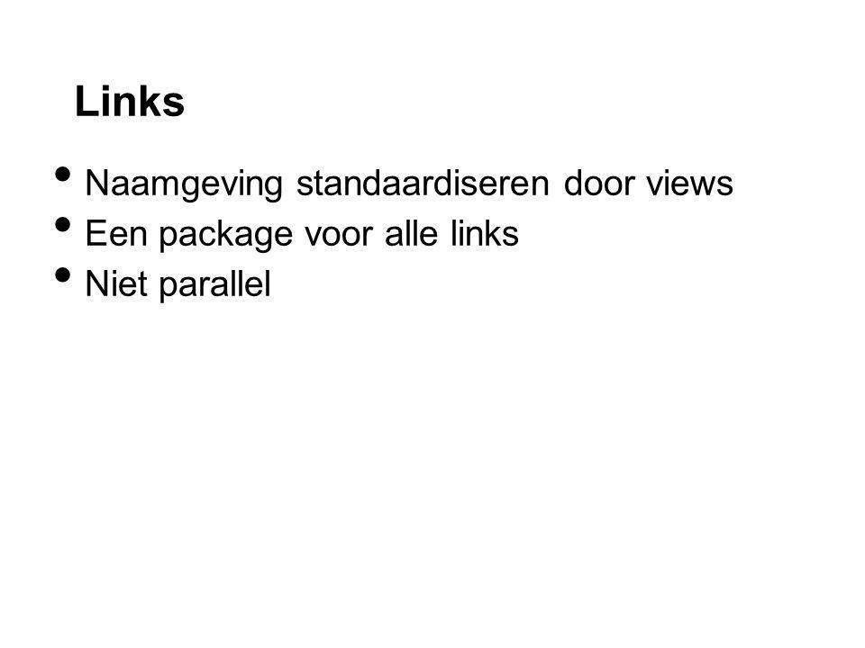 Links Naamgeving standaardiseren door views Een package voor alle links Niet parallel