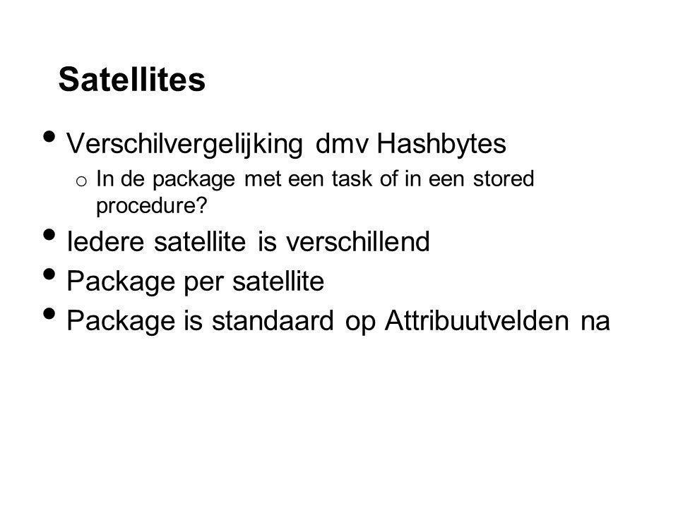 Satellites Verschilvergelijking dmv Hashbytes o In de package met een task of in een stored procedure.