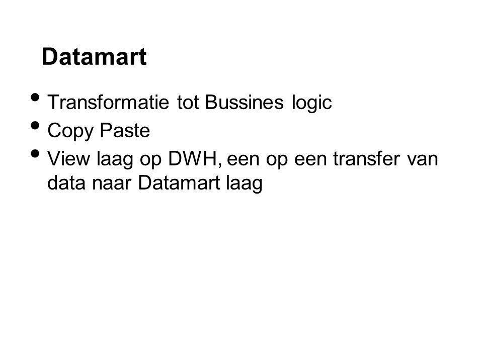 Datamart Transformatie tot Bussines logic Copy Paste View laag op DWH, een op een transfer van data naar Datamart laag