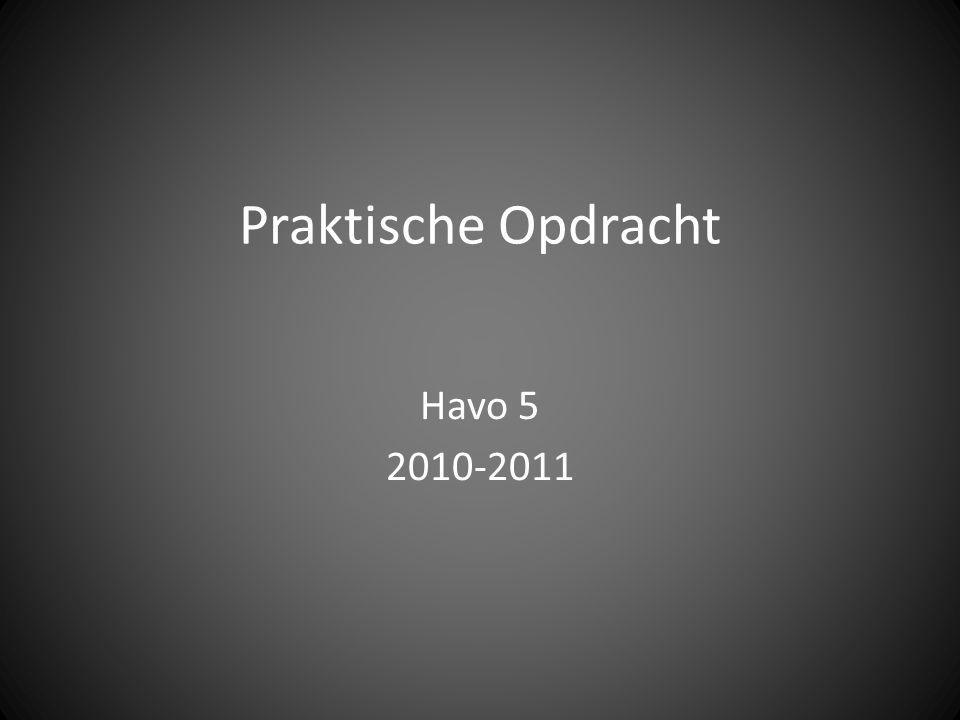 Praktische Opdracht Havo 5 2010-2011