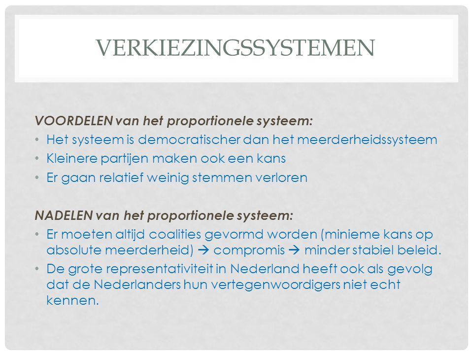 VERKIEZINGSSYSTEMEN VOORDELEN van het proportionele systeem: Het systeem is democratischer dan het meerderheidssysteem Kleinere partijen maken ook een