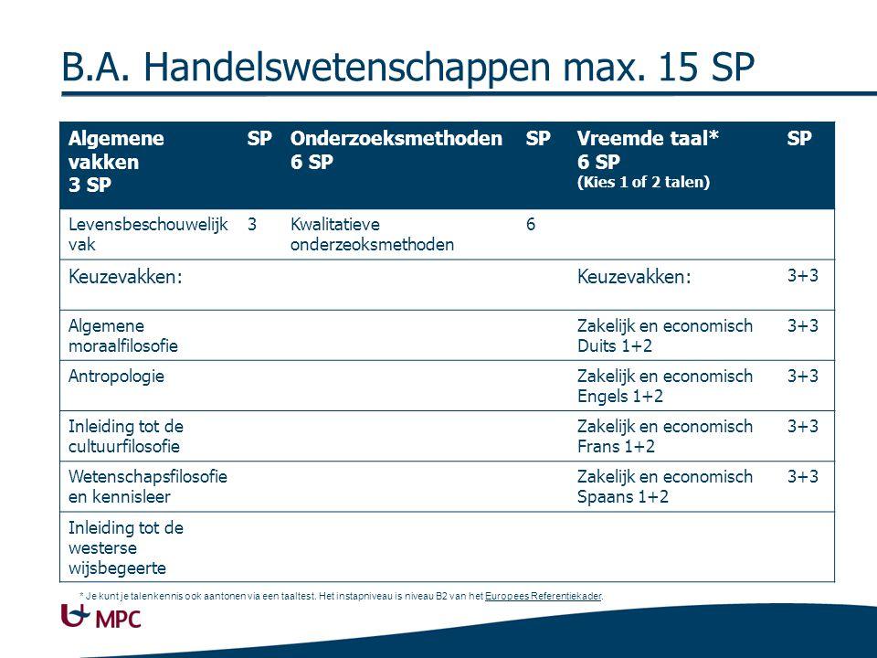 B.A.Handelswetenschappen max.