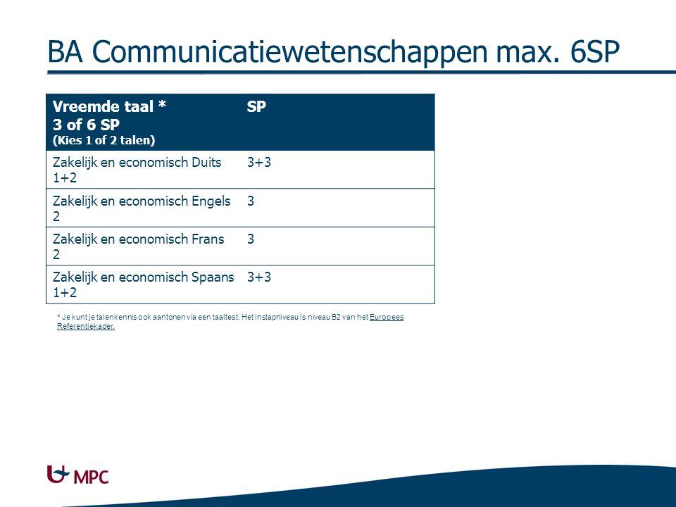 BA Communicatiewetenschappen max.