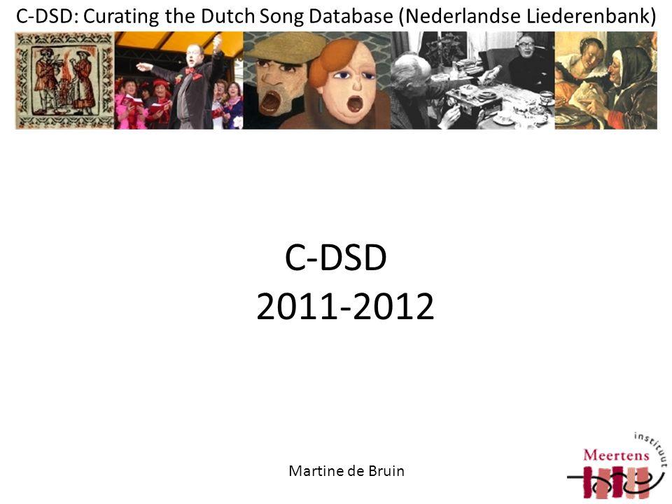 C-DSD: Curating the Dutch Song Database (Nederlandse Liederenbank) beschrijvingen: ruim 150.000 liederen, c.