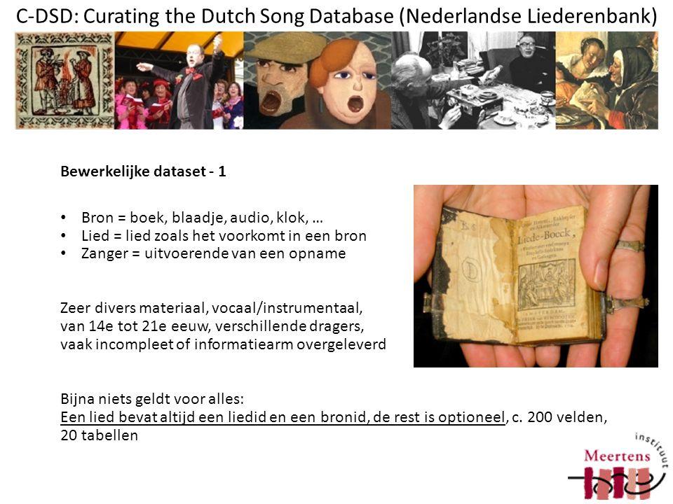 C-DSD: Curating the Dutch Song Database (Nederlandse Liederenbank) Een bron kan meer vindplaatsen hebben, waarvan elk meerdere reproducties bestaan (betreft niet alleen de eigen collectie) Een lied kan gekoppeld zijn aan meerdere scans (zowel meerdere pagina's als twee of meer sets scans; soms gecropt, soms als deel van bron; afhankelijk van de collectie) Van een lied kunnen meerdere audiofiles bestaan (mp3, MIDI) en meerdere tekst-transcripties Bewerkelijke dataset - 2