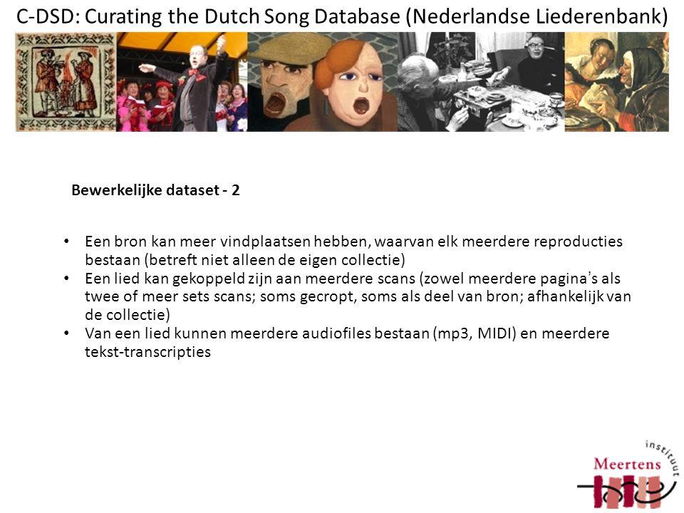 C-DSD: Curating the Dutch Song Database (Nederlandse Liederenbank) Slechte uitwisselmogelijkheden Resources (scans etc.) los-vast Belangrijkste redenen om iets aan curatie te willen doen: