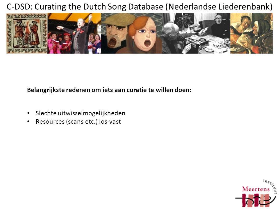 C-DSD: Curating the Dutch Song Database (Nederlandse Liederenbank) Waarom Clarin.