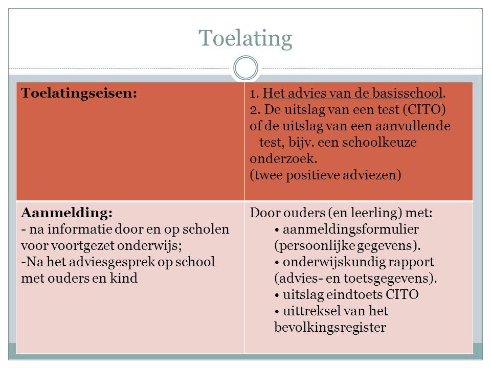 Toelating Toelatingseisen:1. Het advies van de basisschool. 2. De uitslag van een test (CITO) of de uitslag van een aanvullende test, bijv. een school
