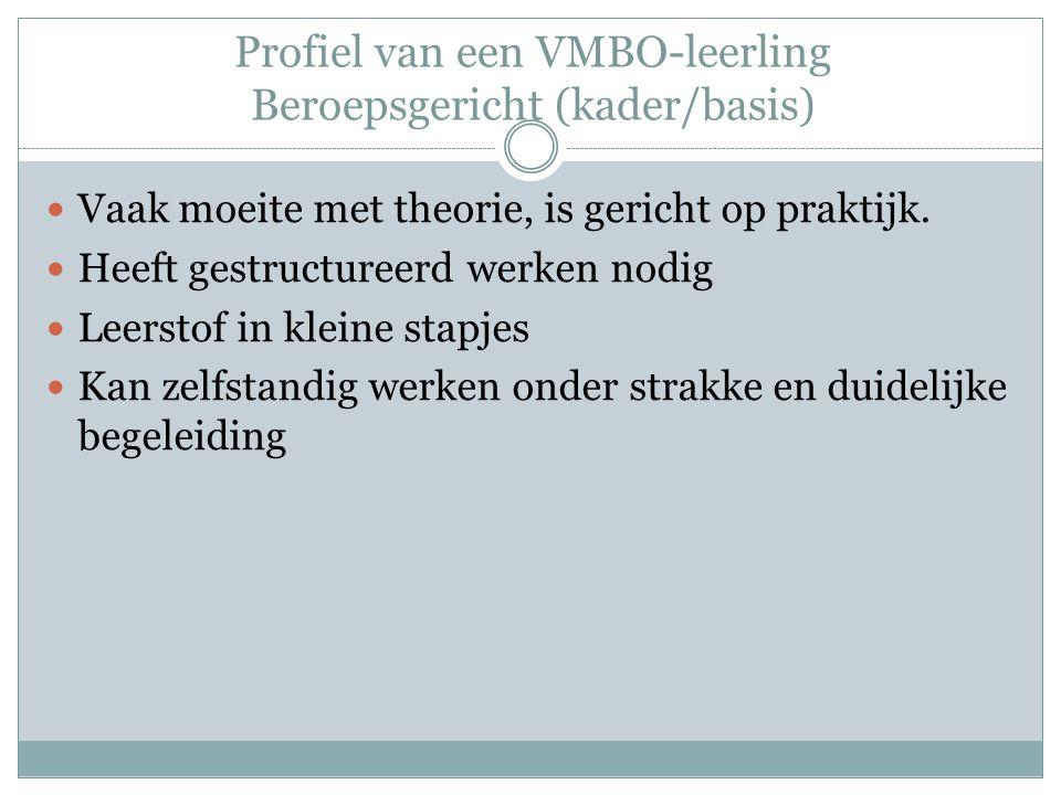 Profiel van een VMBO-leerling Beroepsgericht (kader/basis) Vaak moeite met theorie, is gericht op praktijk. Heeft gestructureerd werken nodig Leerstof