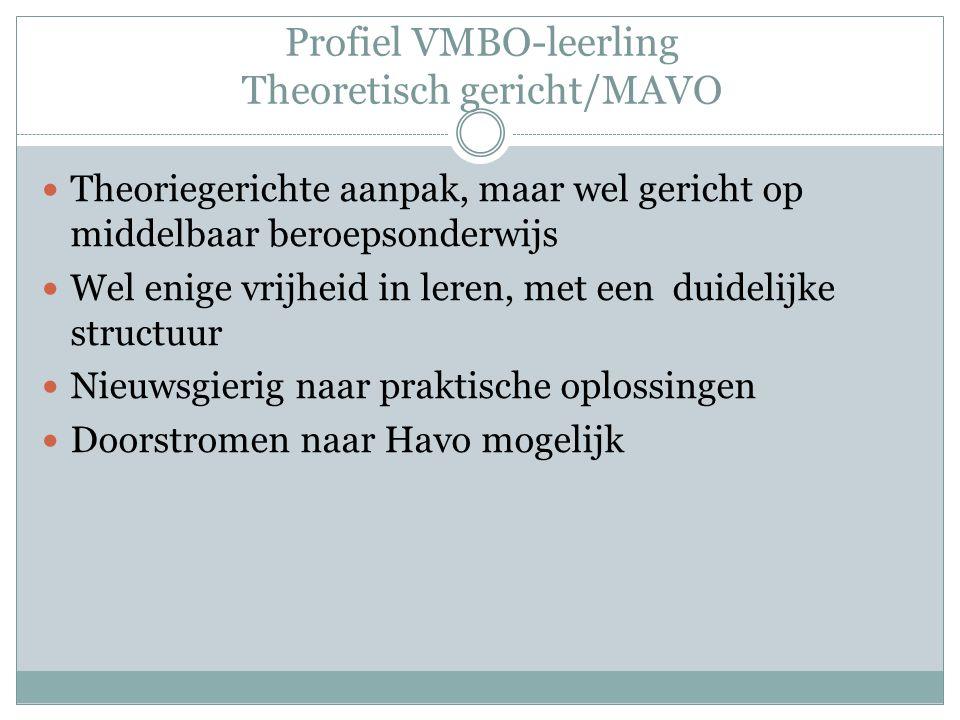 Profiel VMBO-leerling Theoretisch gericht/MAVO Theoriegerichte aanpak, maar wel gericht op middelbaar beroepsonderwijs Wel enige vrijheid in leren, met een duidelijke structuur Nieuwsgierig naar praktische oplossingen Doorstromen naar Havo mogelijk