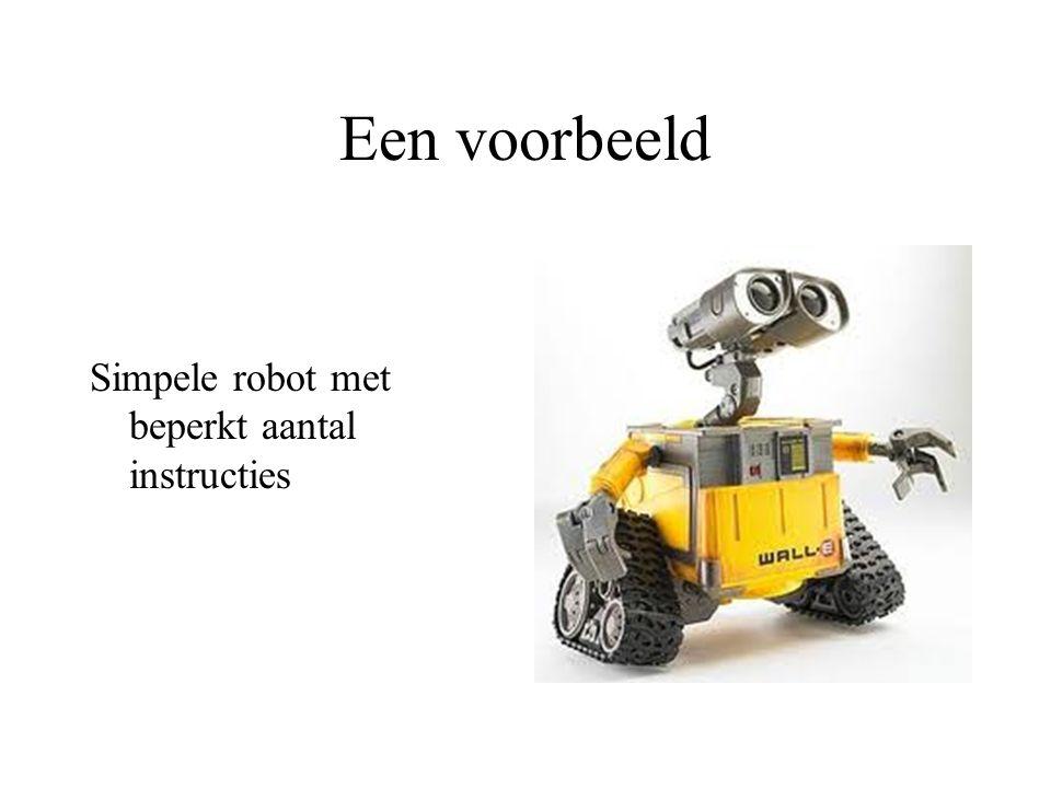 Een voorbeeld Simpele robot met beperkt aantal instructies